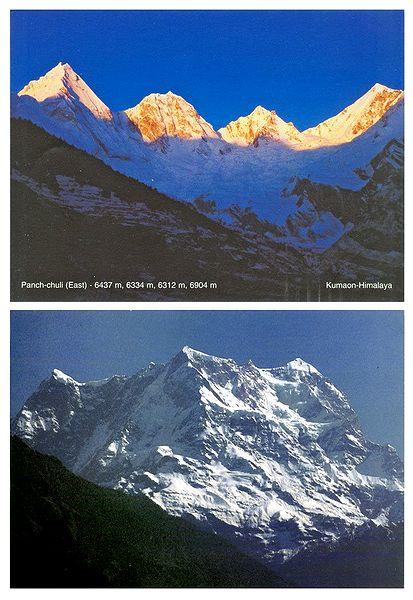 Panch-Chuli and Chaukhamba Peak of Himalayas - Set of 2 Postcards