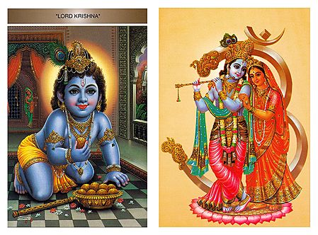 Bal Gopal and Radha Krishna - Set of 2 Postcards