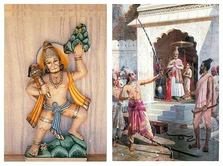 Hanuman Carrying Gandhamadan and Rama Breaking Shiva Dhanush - Set of 2 Poscards