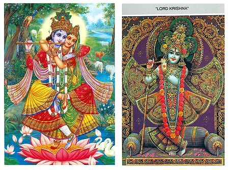 Lord Krishna and Radha Krishna - Set of 2 Postcards