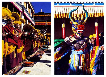 Buddhist Monks and Mask Dance, Ladakh - Set of 2 Postcards