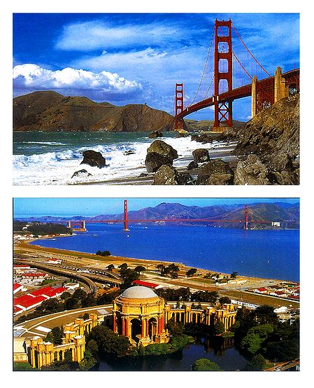 Golden Gate Bridge and Palace of Fine Arts, San Francisco - Set of 2 Postcards