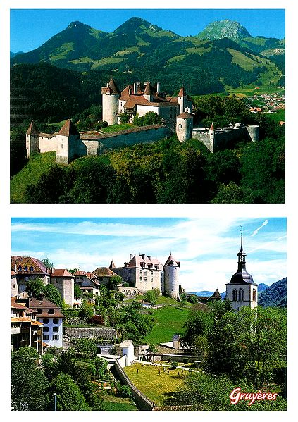 Gruyeres, Switzerland - Set of 2 Postcards