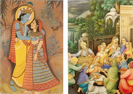 Radha Krishna and Bathing Ceremony of Krishna - Set of 2 Postcards