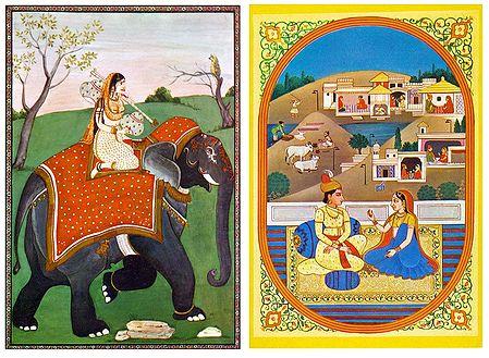 Ragini and Rajput Couple - Set of 2 Postcards