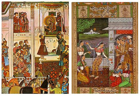 Mughal Darbar and King in His Harem - Set of 2 Postcards