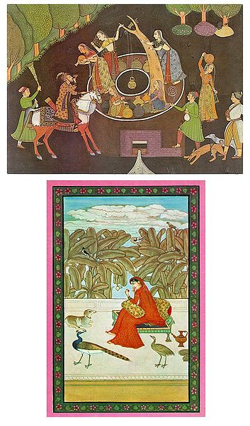 Well Scene and Ragini - Set of 2 Postcards
