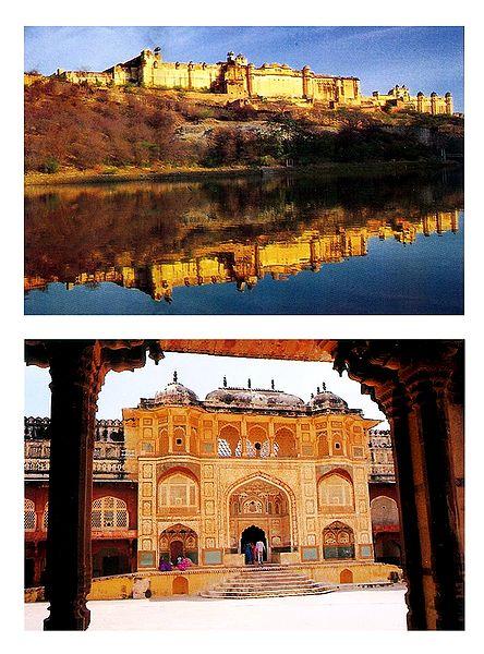 Amber Fort and Ganesh Pol, Jaipur - Set of 2 Postcards