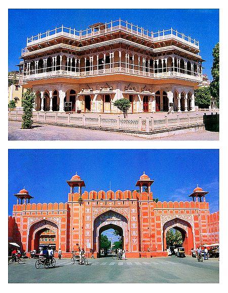 Mubarak Mahal and City Gate, Jaipur - Set of 2 Postcards