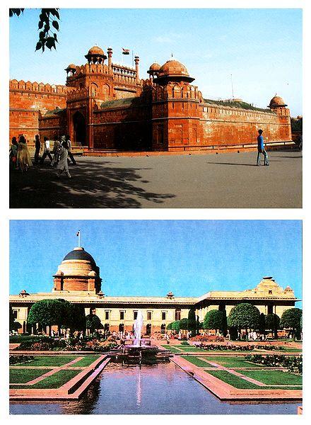 Red Fort and Rashtrapati Bhawan, Delhi - Set of 2 Postcards