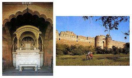 Old Fort and Diwan-e-am, Red Fort, Delhi - Set of 2 Postcards