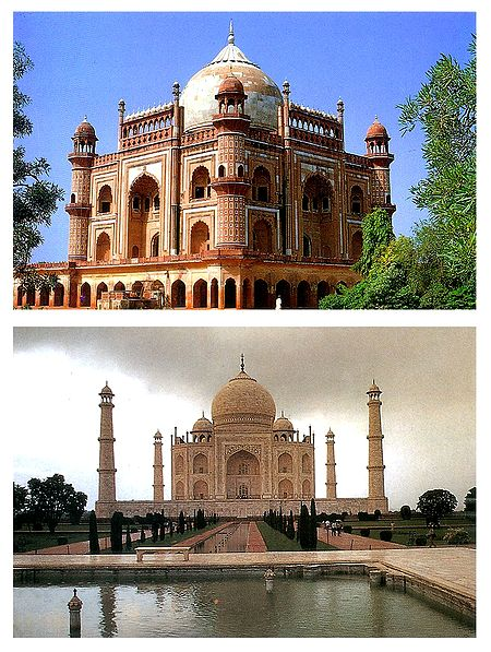 Safdarjung Tomb, Delhi & Taj Mahal, Agra - Set of 2 Postcards