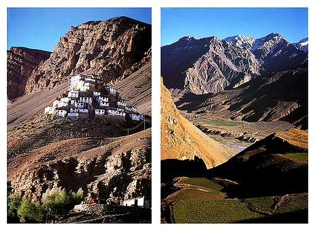 Ki Gompa and Spiti Valley near Kaza, India - Set of 2 Postcards
