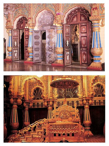Interiors of Mysore Palace, Mysore, India - Set of 2 Postcards
