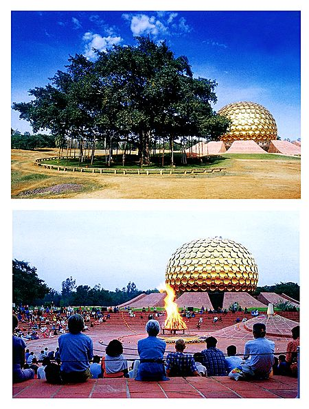 Matrimandir and Banyan Tree, Pondicherry - Set of 2 Postcards