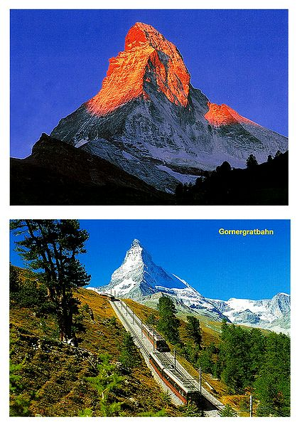 Matterhorn from Zermatt and Gornergrat, Switzerland - Set of 2 Postcards