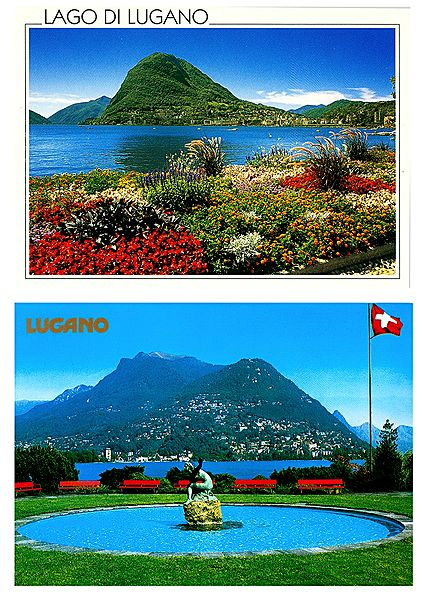 Lugano, Switzerland - Set of 2 Postcards