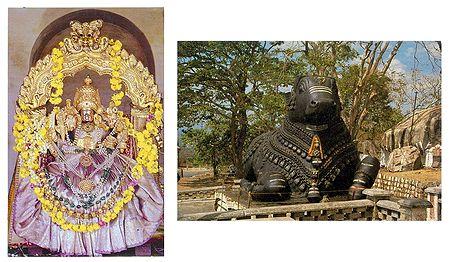 Goddess Chamundeswari and Nandi on Chamundi Hill - (Set of Two)