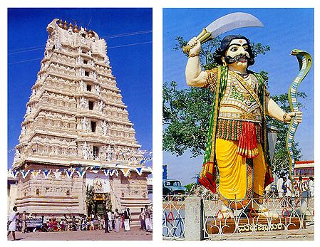 Chamundeswari Temple and Mahisasura - Set of 2 Postcards