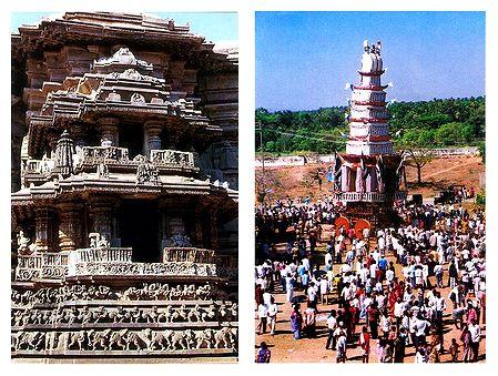 Belur Temple and Sri Ranganatha Swamy Car Festival - Set of 2 Postcards