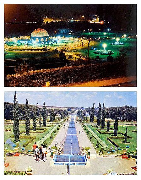 Brindavan Garden, Mysore and Park, Ooty - Set of 2 Postcards
