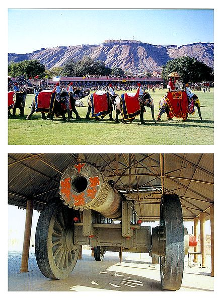 Elephant Procession at Amber Fort, Jaivana Canon at Jaigarh Fort , Jaipur - Set of 2 Postcards