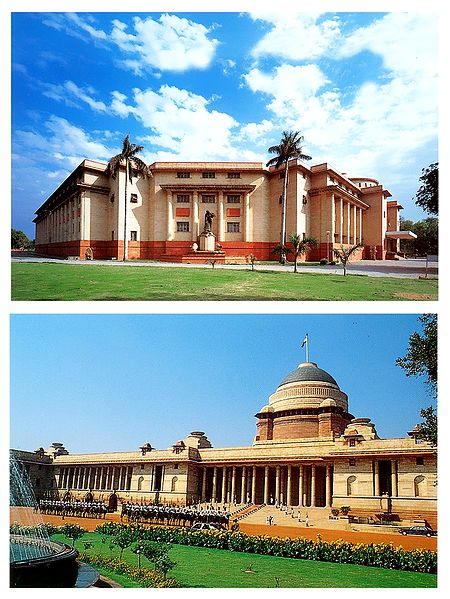 Rashtrapati Bhawan and National Museum, New Delhi, India - Set of 2 Postcards