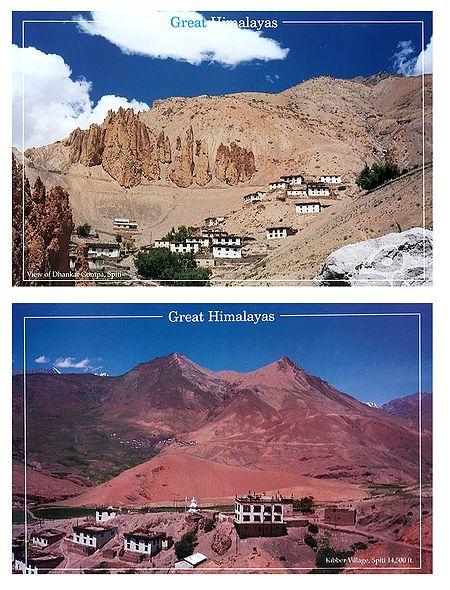 Dhankar Gompa and Kibber Valley, Spiti, India - Set of 2 Postcards