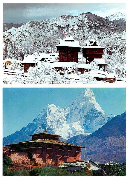 Bhimakali Temple, H.P, India and Mt. Ama Dablam, Nepal - Set of 2 Postcards