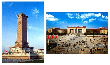 The monument and Great Hall of People, China - Set of 2 Postcards