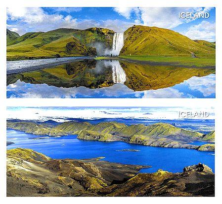 Skogafoss Waterfall & Langisjor Lake, Iceland - Set of 2 Postcards