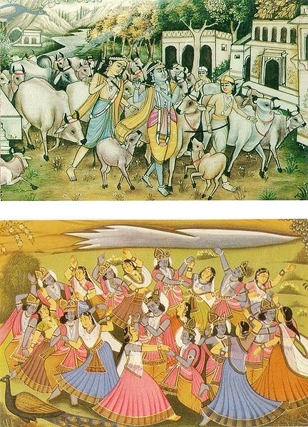 Krishna, Balaram at Vrindavan and Raas Lila - Set of 2 Postcards
