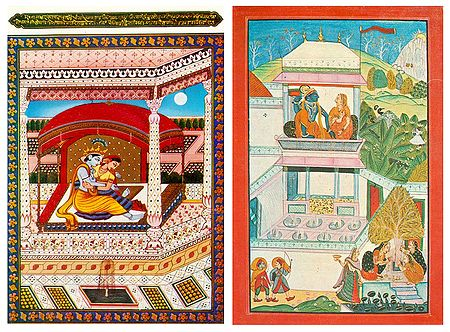 Secret Rendezvous of Radha Krishna - Set of 2 Postcards