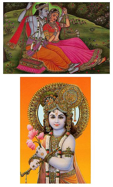 Krishna and Radha Krishna on Swing - Set of Two Postcards