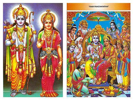 Rama, Sita and Ram Darbar - Set of 2 Postcards