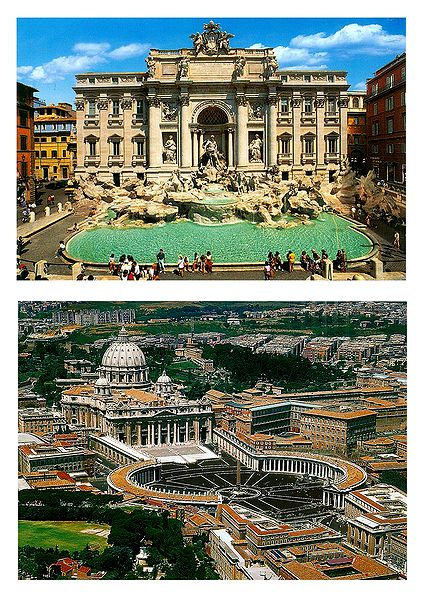 Trevi Fountain in Rome and St. Peter's Basilica in Vatican - Set of 2 Postcards