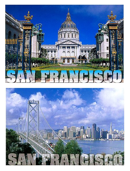 City Hall and Bay Bridge, San Francisco - Set of 2 Postcards
