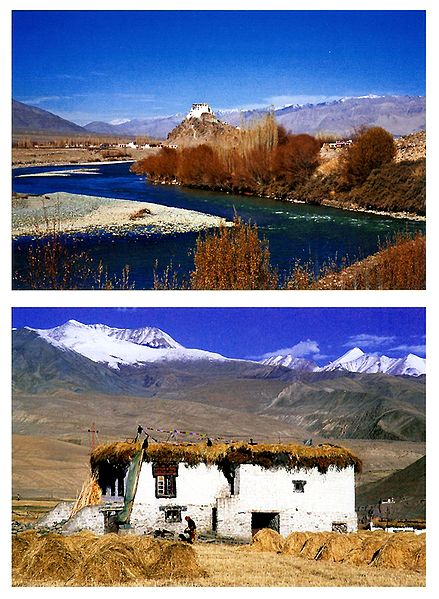 Stakna Monastery and Village House, Ladakh - Set of 2 Postcards
