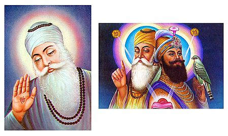 Guru Nanak and Guru Govind Singh - Set of 2 Postcards