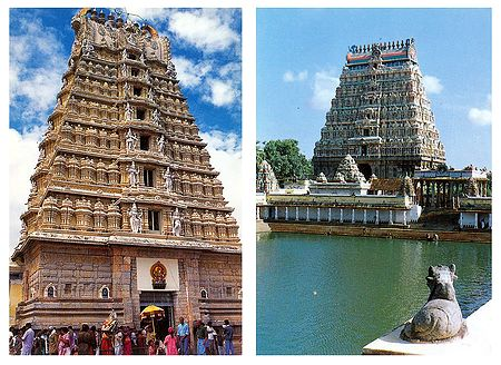 Chamundeswari Temple, Mysore and Chidambaram Temple, Tamilnadu - Set of 2 Postcards