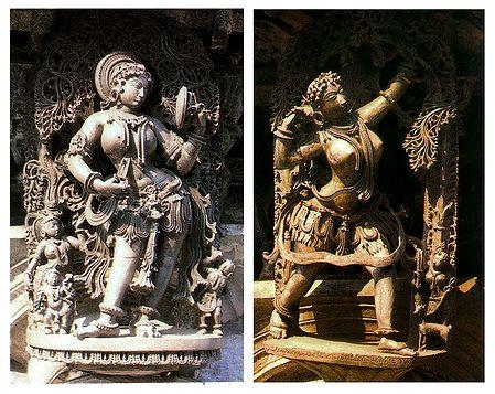 Temple Wall Carvings, Belur, Karnataka, india - Set of 2 Postcards
