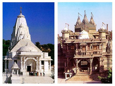 Birla Temple in Jaipur and Hutheesing Jain Temple in Ahmedabad - Set of 2 Postcards