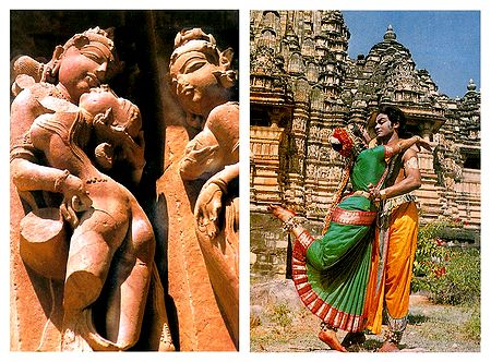 Temple Wall Carvings and Bharatnatyam Dancers in Khajuraho - Set of 2 Postcards