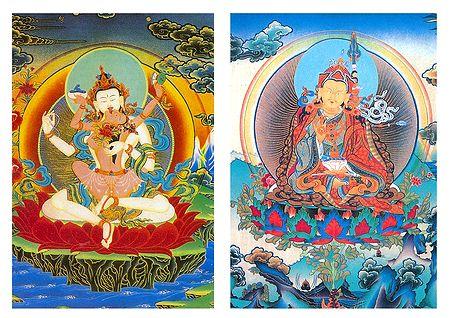 Chenrezik Consort and Guru Padmasambhava - Set of 2