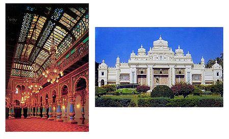 Amba Vilas and Jagmohan Palace, Mysore - Set of 2 Postcards