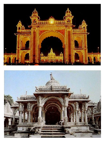 Mysore Palace and Hutheesing Jain Temple - Set of 2 Postcards