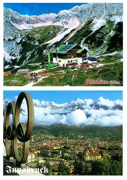 Pfeishutte and Innsbruck, Austria - Set of 2 Postcards