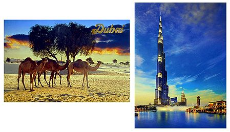 Burj Khalifa and Desert, Dubai - Set of 2 Postcards