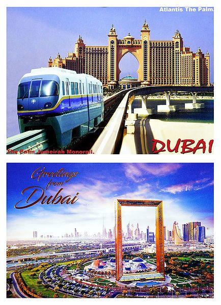 The Palm Jumeirah Monorail and Dubai Frame, Dubai - Set of 2 Postcards