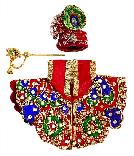 Red Dress, Crown and Flute for 4 Inches Bal Gopal Idol